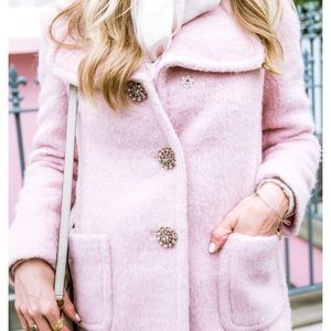 Kate spade wool blend pink coat, jewel buttons